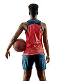Basketball players woman teenager girl isolated shadows Royalty Free Stock Photography
