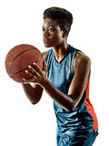 Basketball players woman teenager girl isolated shadows Stock Images