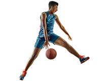 Basketball players woman teenager girl isolated shadows Stock Photo