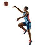 Basketball players woman teenager girl isolated shadows Royalty Free Stock Photo