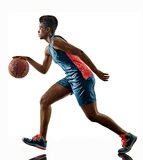 Basketball players woman teenager girl isolated shadows Royalty Free Stock Image