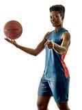 Basketball players woman teenager girl isolated shadows Stock Image