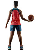 Basketball players woman teenager girl isolated shadows Royalty Free Stock Photos