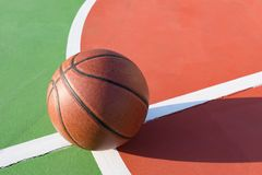 Basketball on the playing field. In a day time Stock Photo