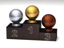 Basketball podium. Basketball dark wood podium with trophies on a white floor stock illustration