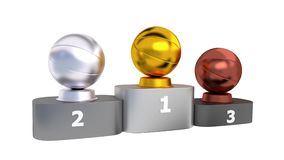 Basketball Podium with Gold Silver and Bronze Trophy in Infinite Rotation. With White Background stock footage