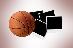 Basketball on Polaraoid Photos Stock Photography