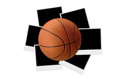 Basketball on Polaraoid Photos Royalty Free Stock Photos