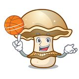 With basketball portobello mushroom character cartoon Stock Images