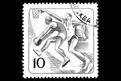 Basketball on a postage stamp Royalty Free Stock Photo