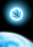 Basketball poster. Powerful illustration of shiny basketball and earth Royalty Free Stock Photos
