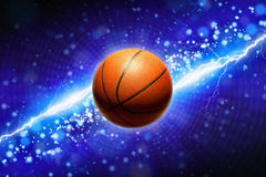 Basketball and powerful blue lightning Stock Image
