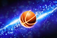 Basketball and powerful blue lightning Stock Image