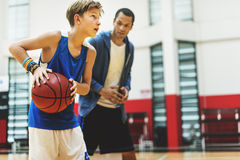 Basketball Practice Training Mentoring Playing Concept Stock Images