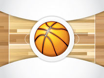 Basketball. A realistic vector hardwood textured basketball court with basketball in the center court Stock Photography