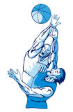 Basketball rebound blue. Illustration of basketballers rebounding for ball Stock Images