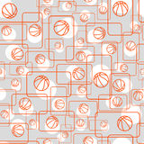 Basketball and rectangle pattern. Simple pattern consisting of a basketball ball and rectangles with rounded corners Stock Image