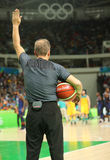 Basketball referee in action at group A basketball match between Team USA and Australia of the Rio 2016 Olympic Games Royalty Free Stock Photos