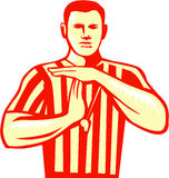 Basketball Referee Technical Foul Retro. Illustration of a basketball referee doing a technical foul hand signal viewed from front set on  white background done Royalty Free Stock Image