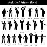 Basketball Referees Officials Hand Signals Cliparts. A set of stickman pictogram representing a set of basketball referee hand signals for the basketball game stock illustration