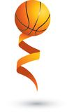 Basketball on a ribbon. Basketball attached to an orange ribbon Royalty Free Stock Photos