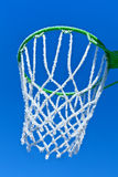 Basketball rim and net with hoarfrost Stock Image