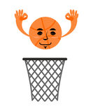 Basketball and ring. Game accessories. Hit in net. Emotions ball.  Stock Photography