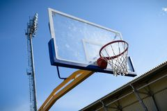Basketball ring. Basketball shield in the street near the stadium Royalty Free Stock Photography