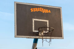 Basketball ring. Side view. Blue sky. Basketball hoop. Basket street basketball Royalty Free Stock Images