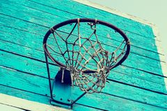 Basketball ring on wooden shield with net royalty free stock photography