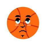 Basketball sad Emoji. Ball sorrowful emotion.  Royalty Free Stock Images