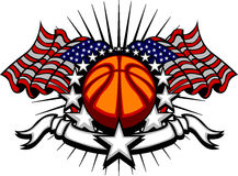 Basketball-Schablone mit Markierungsfahnen und Sternen Lizenzfreie Stockfotos