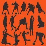 Basketball-Schattenbild-Aktions-Sammlungs-Satz lizenzfreie abbildung