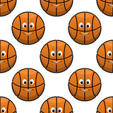 Basketball seamless pattern with funny balls Stock Photos