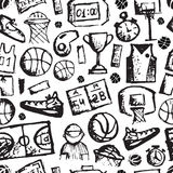 Basketball seamless pattern, sketch for your Stock Images
