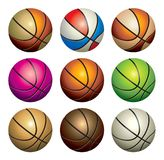 Basketball set. Collection of nine vector basket-ball on white background Stock Photos