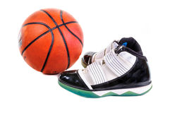 Basketball and shoes royalty free stock photos