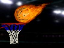 Basketball shoot on fire. Image of basketball on fire shooting to the hoop Stock Image