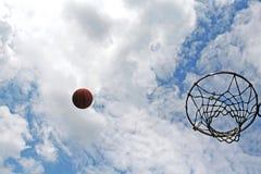 Basketball shot. Basket and blue sky Royalty Free Stock Photo
