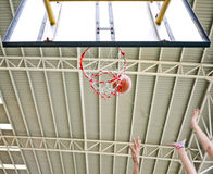 Basketball shot missed then rebound Royalty Free Stock Image
