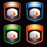 Basketball shots on mutlicolored banners Royalty Free Stock Images