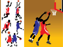 Basketball Silhouette Vectors. Basketball player action silhouette illustration set Stock Image