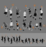 Basketball Silhouettes. This is a collection of basketball players in both seperate pieces and silhouette forms. Alternate file format is illustrator 8 .ai Royalty Free Illustration