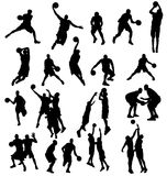 Basketball silhouettes set Stock Photography