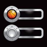 Basketball on silver metal banners Stock Photos