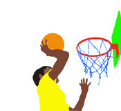 Basketball slam dunk. Illustration of a boy making basketball shot dunk Royalty Free Stock Images
