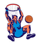 Basketball slam dunk hoop. Illustration on a basketballer hanging on the hoop after slam dunking Stock Photos