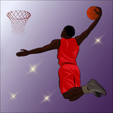 Basketball Slam Dunk - Illustration. A high jumping player about to slam the basketball through the basketball hoop Stock Image