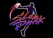 Basketball slam dunk. Basketball player jumps with the ball and do slam dunk. Hand-writed lettering caption in urban style Royalty Free Stock Images