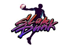 Basketball slam dunk. Basketball player jumps with the ball and do slam dunk. Hand-writed lettering caption in urban style Stock Image